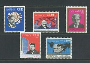 B244-Ecuador-1966-Famous-men-Churchill-Kennedy-etc-5v-MNH