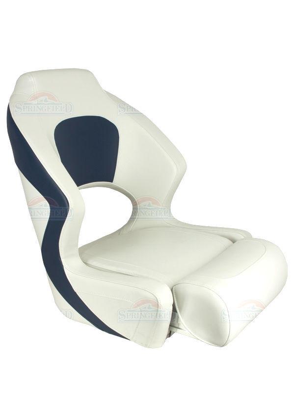Boat seat fold-up sports craft bolster 1043251 WHITE blueE SPRINGFIELD MARINE