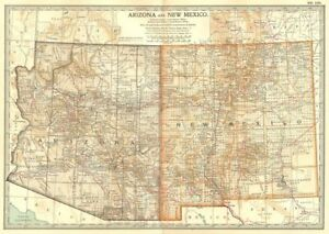 Details about ARIZONA & NEW MEXICO. State map showing counties. Britannica  10th ed. 1903