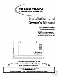 generac guardian standby generator owners manual 5 ebay rh ebay com generac owners manual 8kw generac owners manuals
