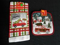 Home For The Holidays X-mas Terry Kitchen Dish Hand Towel & Pot Holder Set