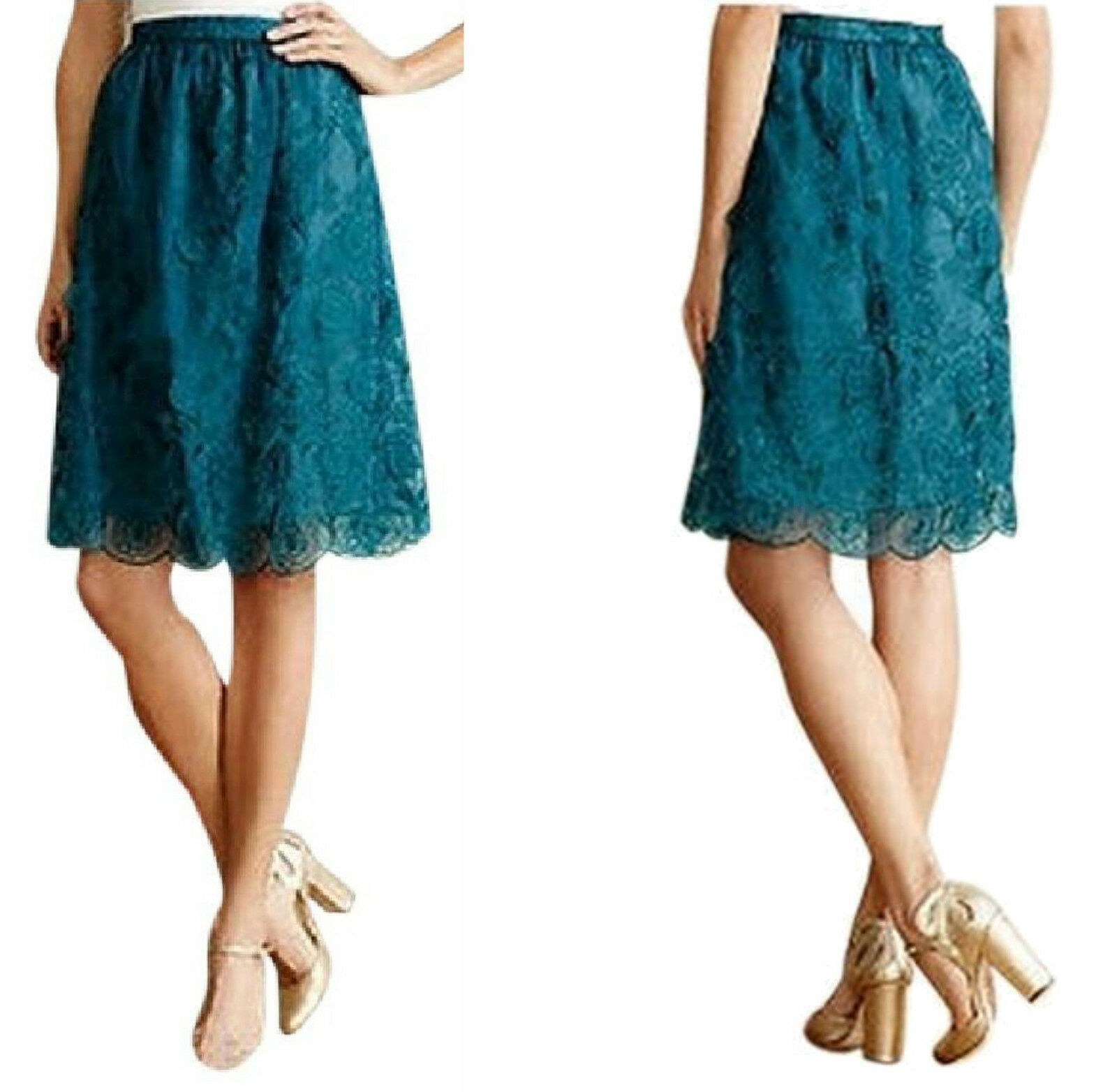 Anthropologie Blossomed Aubrie Skirt 10 Large Turquoise Raised Floral Appliques