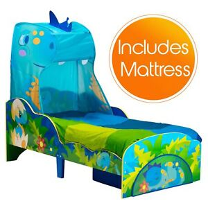 low priced c17ae 10c13 Details about DINOSAUR TODDLER BED WITH STORAGE & CANOPY + FOAM MATTRESS