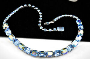 FAB-VINTAGE-16-034-WEISS-BABY-BLUE-AB-RHINESTONES-SILVER-TONE-CHOKER-NECKLACE-D22