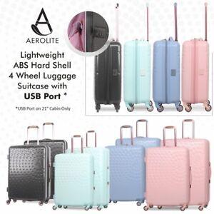 70931e817 La imagen se está cargando Aerolite-cascara-dura-ABS-ligero-equipaje-maleta -de-