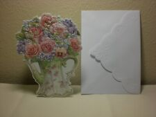Birthday card Pink flowers in blue bucket on cover Carol/'s Rose Garden