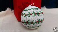 Vintage Crochet Fabric Covered Christmas Tree Bulb Ornament Original Padded Box