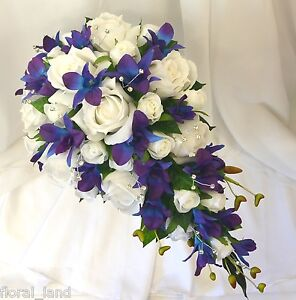 Silk wedding flowers blue purple orchids white roses teardrop image is loading silk wedding flowers blue purple orchids white roses mightylinksfo