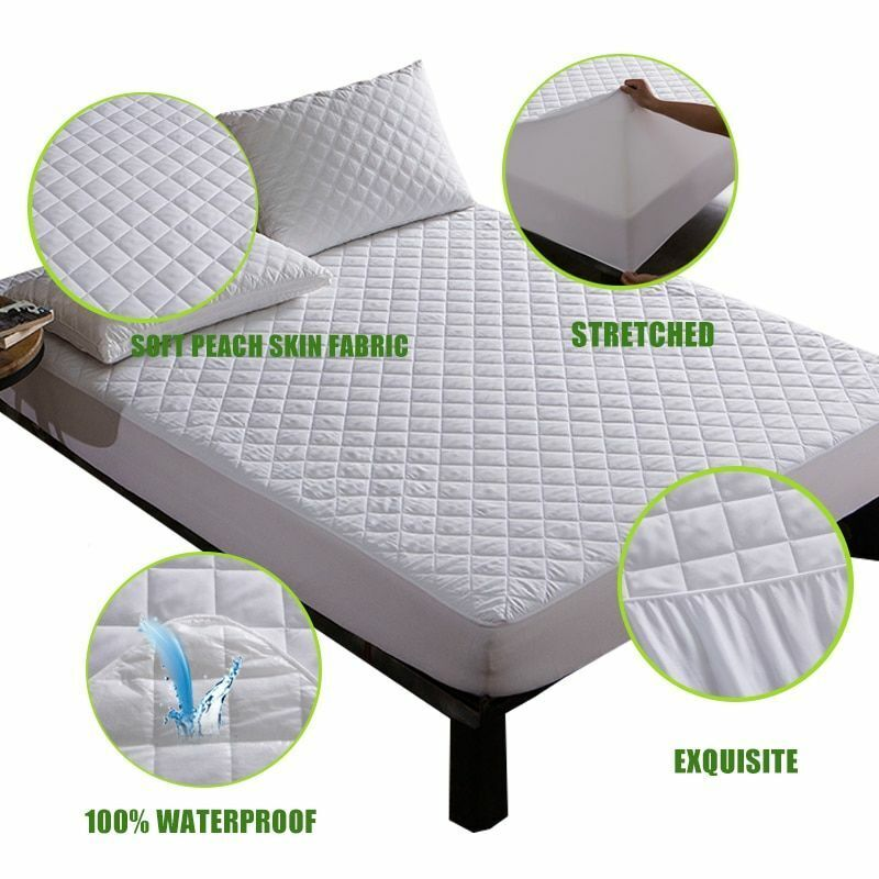 Brushed Fabric Quilted Waterproof Mattress Pad Cover Super Soft Breathable New