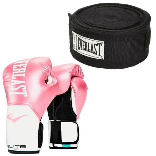 Everlast Pink Elite Pro Style Boxing Gloves 12 ounce /& Black 120 Inch Hand Wraps
