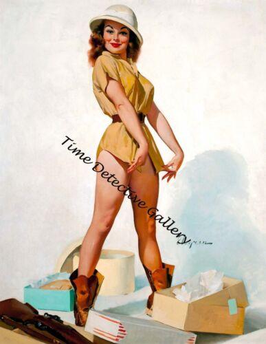 Vintage Safari Pin-up Girl Giclee Art Print