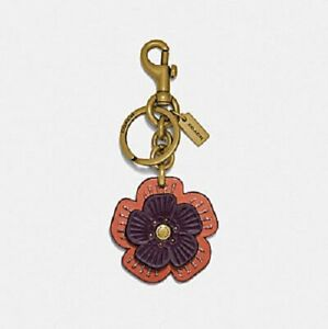 Coach-Tea-Rose-Willow-Floral-Bag-Charm-Keychain-Ring-89407-Brass-Oak-Multi