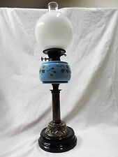Antique Victorian Pedestal Porcelain & Brass Oil Lamp c.1880