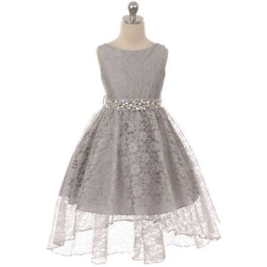 SILVER-Flower-Girl-Dress-Birthday-Pageant-Party-Formal-Wedding-Bridesmaid-Dance