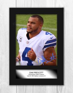 DAK-Prescott-Dallas-Cowboys-A4-signe-monte-Photographie-Choix-de-cadre