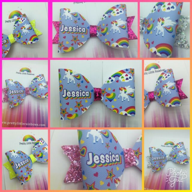 1 X Personalised Glitter Bow Unicorn Hair Bow with Pink Glitter ANY NAME