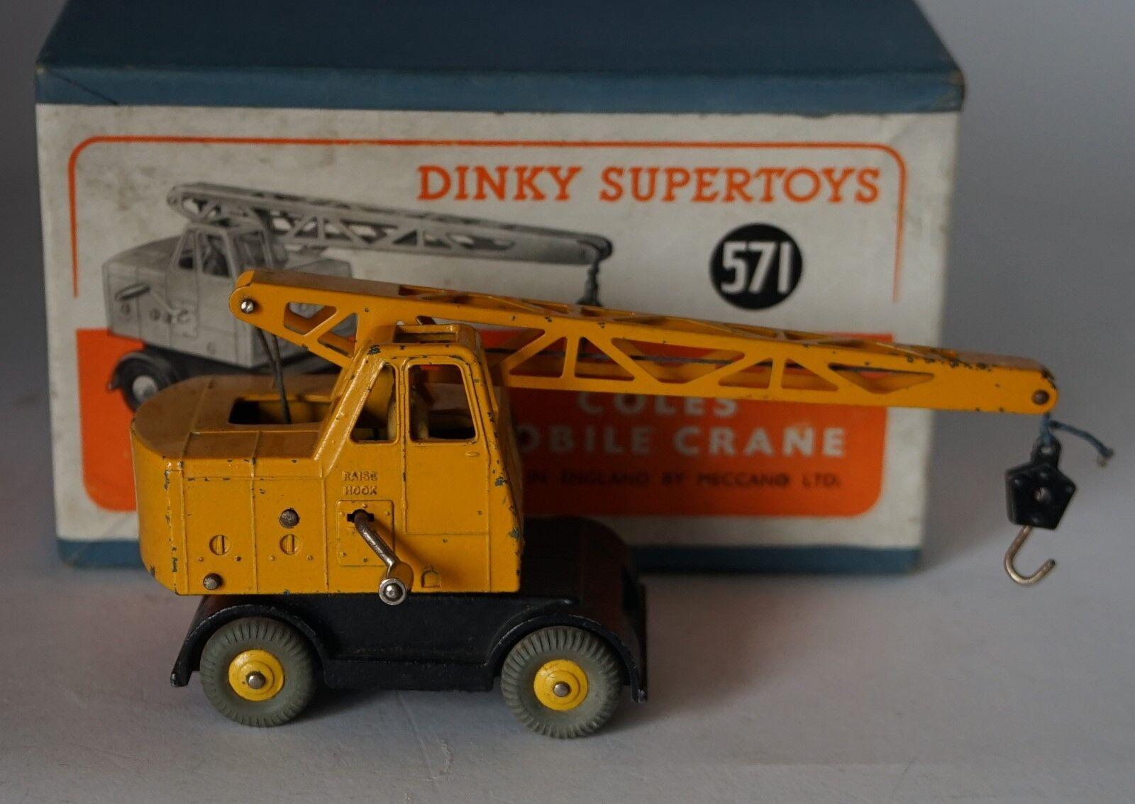 Dinky 571 - Coles Móvil Grúa - Amarillo   Negro con Solo Uno Insertos
