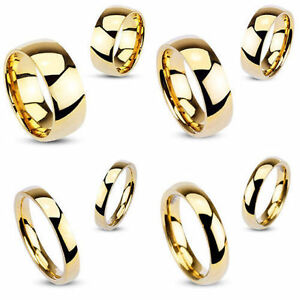 Stunning-Mens-Ladies-Stainless-Steel-Gold-IP-High-Polished-Wedding-Band-Ring
