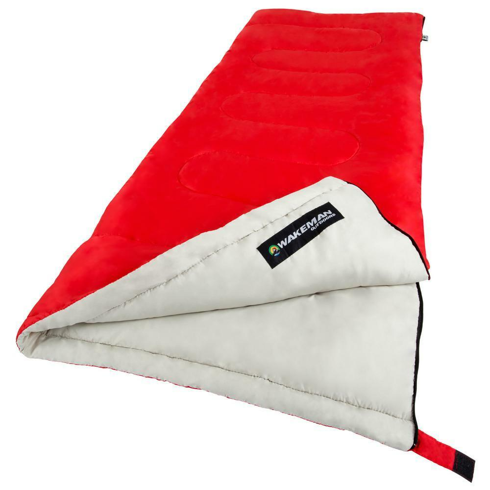 Red Cotton Lining and Polyester Shell 75-in L x 3-in 2-Season Sleeping Bag