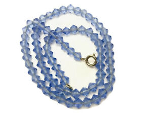 """Vintage Sapphire Blue Faceted Crystal Glass Bead Necklace 16"""" Long GIFT BOXED"""
