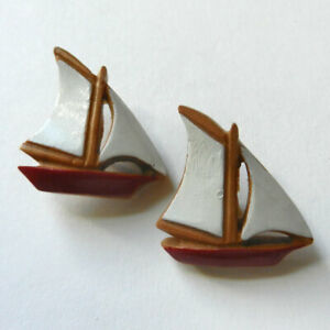 """Pair Large Wood Buttons Realistic Sailboats Red with White Sails 1"""""""