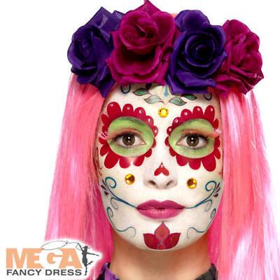 Accurato Giorno Dei Morti Make-up Kit Adulti Halloween Teschio Spaventoso Costume Facepaint Set-mostra Il Titolo Originale