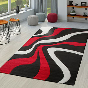 Teppich Rot Schwarz Weiß Wohnzimmer Teppiche Modern mit ...
