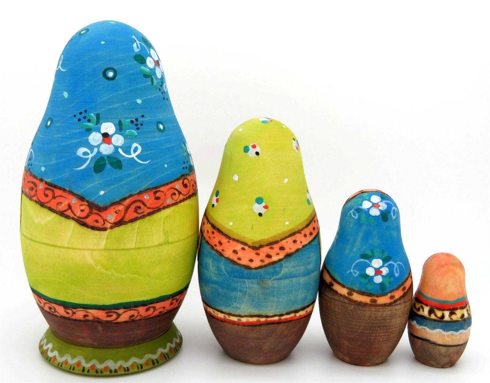 Martryoshka Babuschka & Taschentücher Taschentücher Taschentücher Russisch Blau Grün Stapel Puppen 4 Ryabova 106570