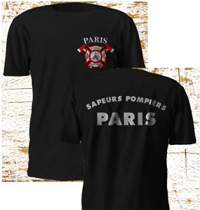 New-PARIS-Sapeurs-Pompiers-FIREFighter-Fire-Department-Black-T-Shirt-S-4XL
