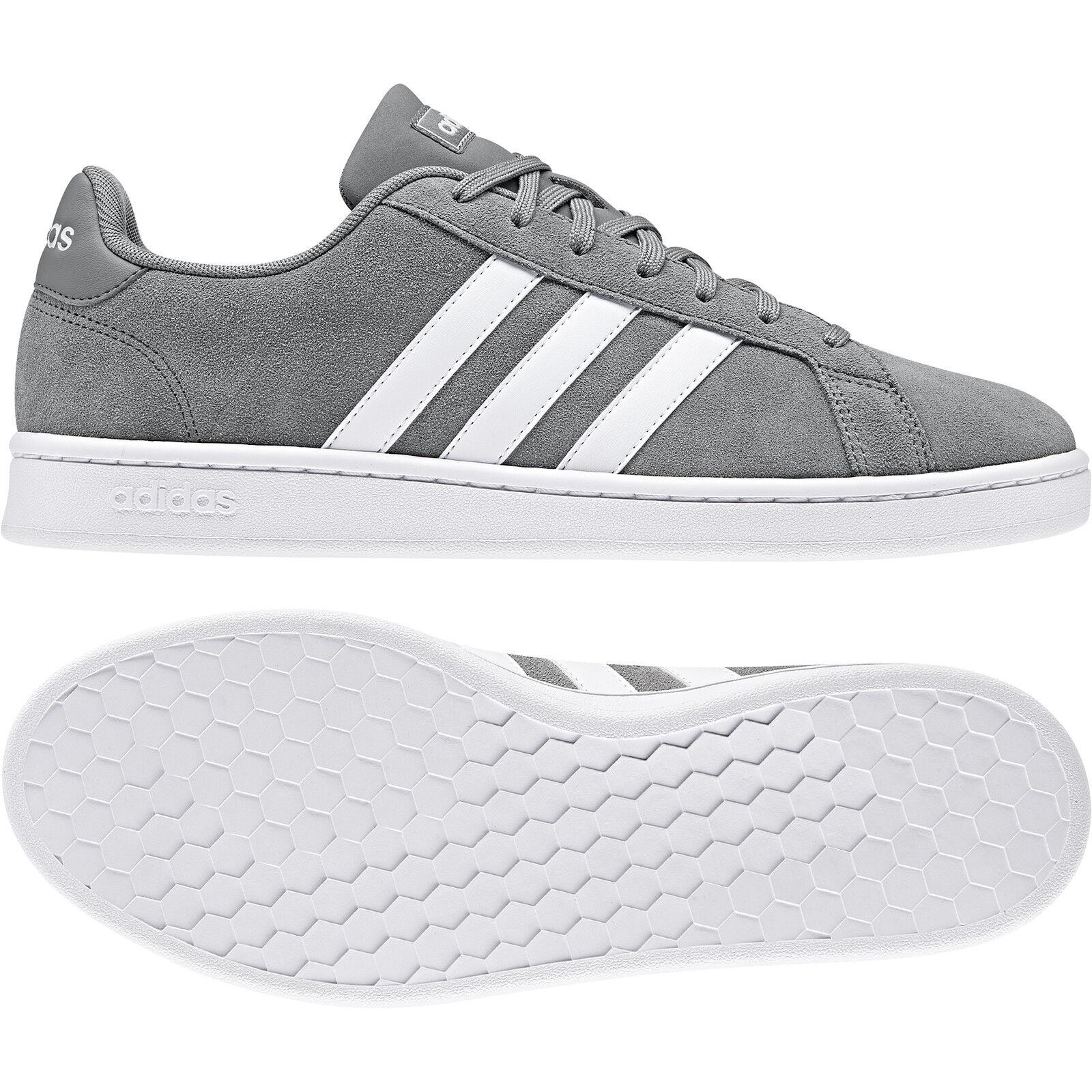 Adidas neo Herren Schnürschuh Turnschuhe GRAND COURT grau weiß (F36412)