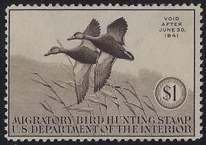 "RW7 - $1 F-VF ""Family of Ruddy Ducks"" Duck Stamp Mint NH Cat $225"