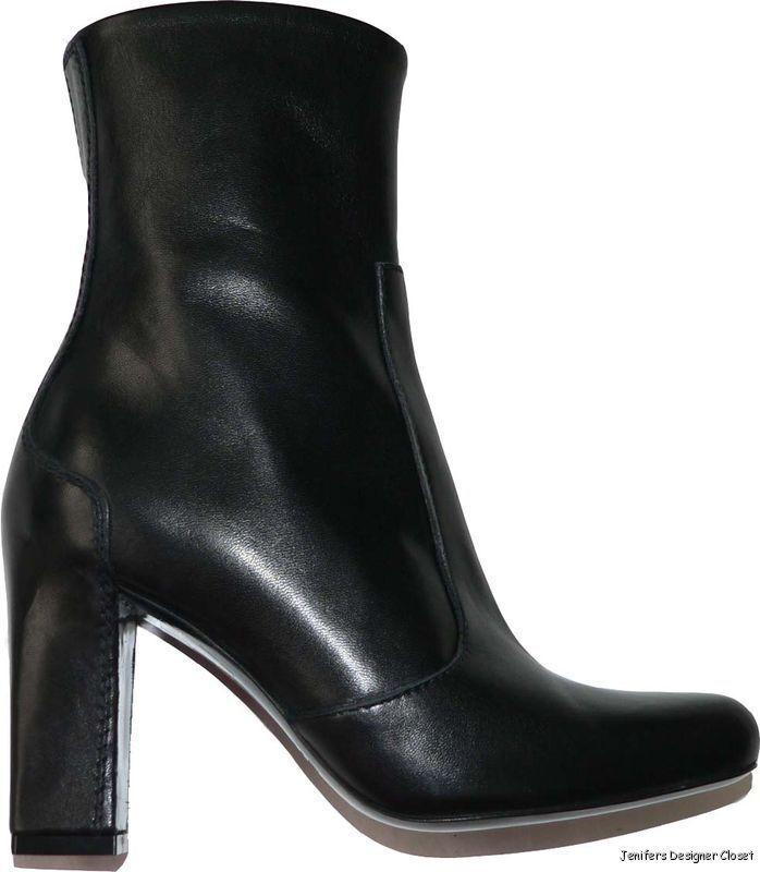 Nuevas botas de cuero negro Maxmara 35 4.5 5 Italia Tobillo Tacones diseñador Max Mara