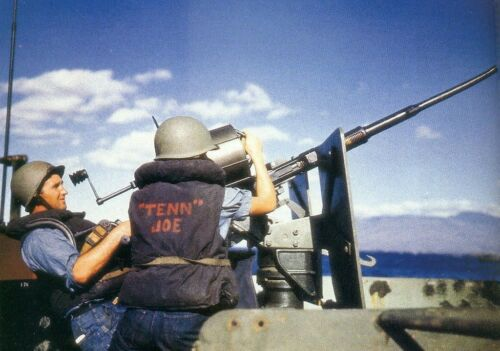 COLOR WWII Photo USS Tennessee 20mm Oerlikon Cannon US Navy World War Two  WW2