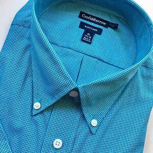 Mens-Croft-amp-Barrow-Blue-Plaid-Short-Sleeved-Dress-Shirt-NWT-Casual