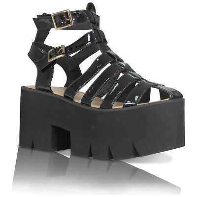 WOMENS LADIES DOUBLE BUCKLE CLEATED SOLE HIGH HEEL CHUNKY PLATFORM SANDALS SHOES