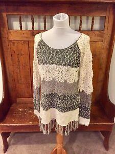 Stripe Crochet Bke Sweater Gimmicks Buckle Maglione M pq1n0Z1