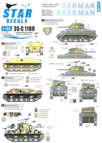 Star Decals 1//35 GERMAN SHERMAN TANKS Captured Sherman Tanks