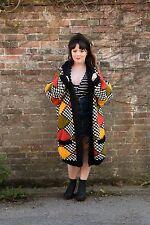 Vintage oversized super chunky patchwork harlequin pattern cardigan