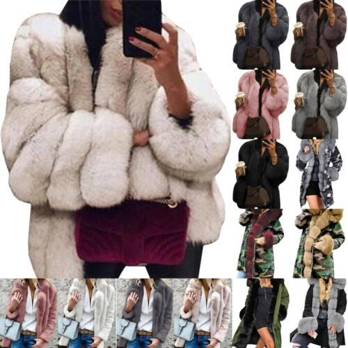 Women Fluffy Faux Fur Overcoat Winter Warm Thick Jacket Outwear Parka Plus Size