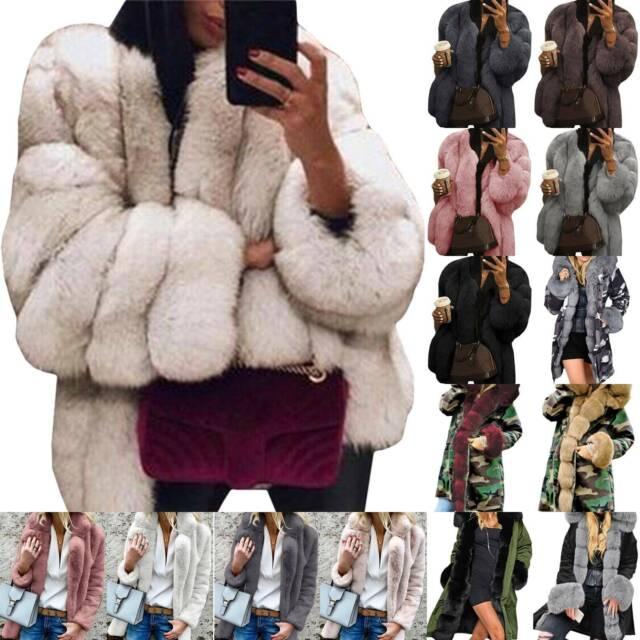 Womens Winter Fluffy Faux Fur Warm Coat Lady Cardigan Jacket Parka Outerwear Top