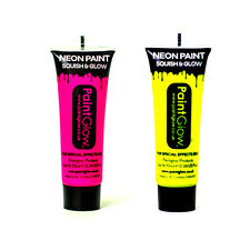 Paintglow Pink Yellow Neon UV Face & Body Paint Festival Party 10ml Set of 2