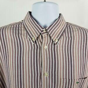 Lacoste-Mens-Dark-Purple-White-Striped-Dress-Button-Shirt-Sz-44-XL