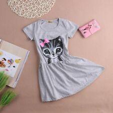 Cotton Above Knee Children Clothing Cat Print Kids Girl Dress Short Sleeve