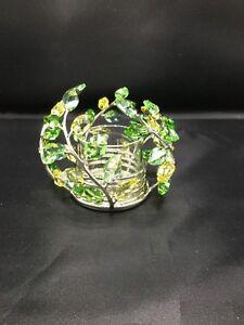 Swarovski-Crystal-Leaves-Tealight-Candle-Holder-Beautiful-660728-Retired