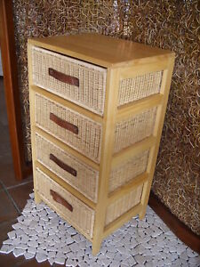 Cassettiere Vimini E Legno.Cassettiera In Legno Vimini 4 Cassetti Cucina E Bagno Ebay