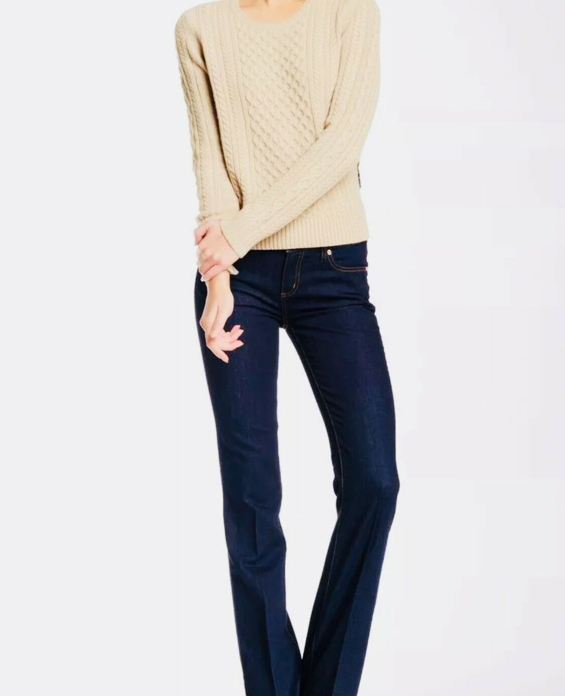 TORY BURCH Classic Boot Cut Cropped bluee Jeans Stretch  Pants NWT SZ 29