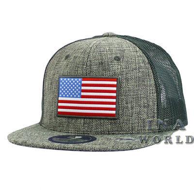 USA American Flag hat Stars and Stripe Mesh Dyed Snapback Baseball cap-  Gray | eBay