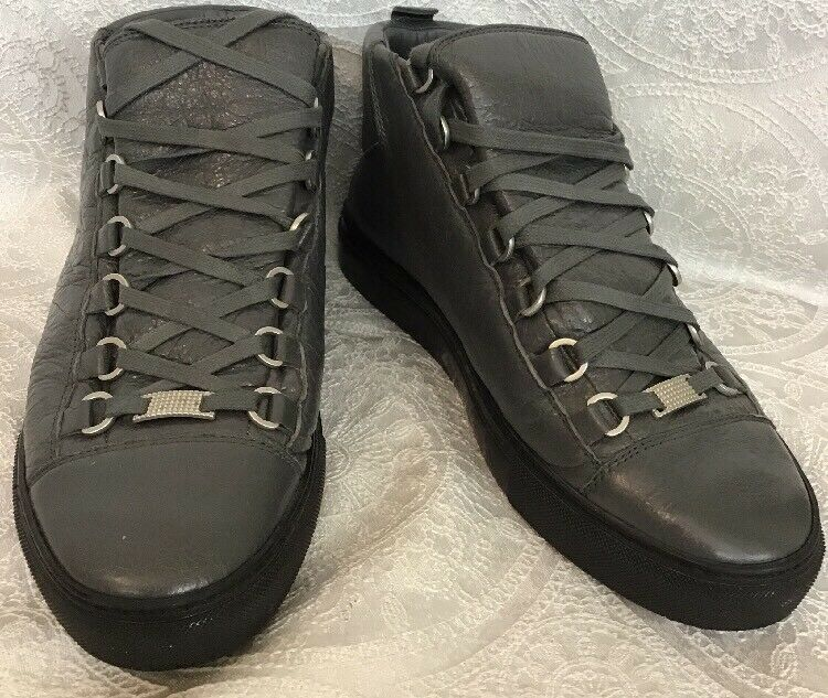 Balenciaga Lace Up Sneaker Leather And Rubber Gray Size 40