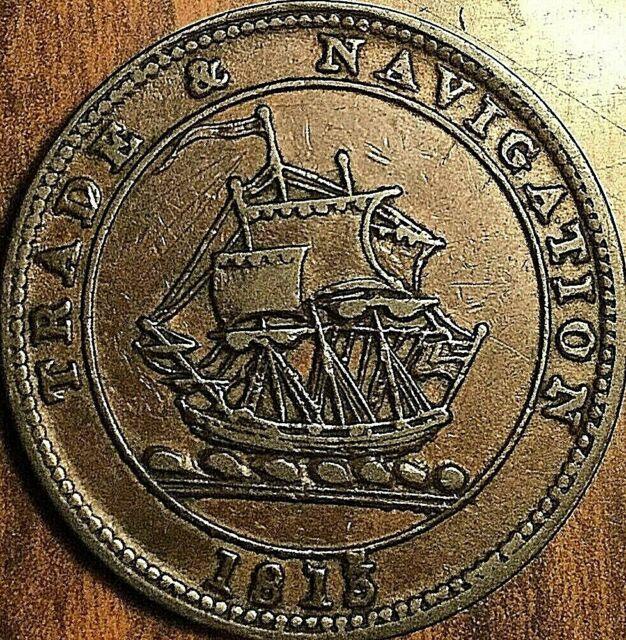1813 NOVA SCOTIA TRADE AND NAVIGATION HALF PENNY TOKEN - Breton 965
