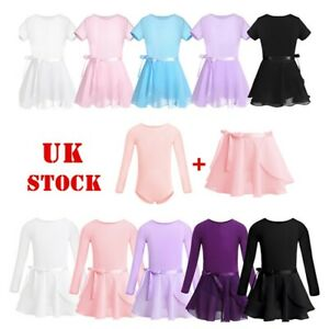 UK-Kids-Girls-Ballet-Dance-Leotard-Skirt-Set-Gymnastic-Ballerina-Leotards-Dress